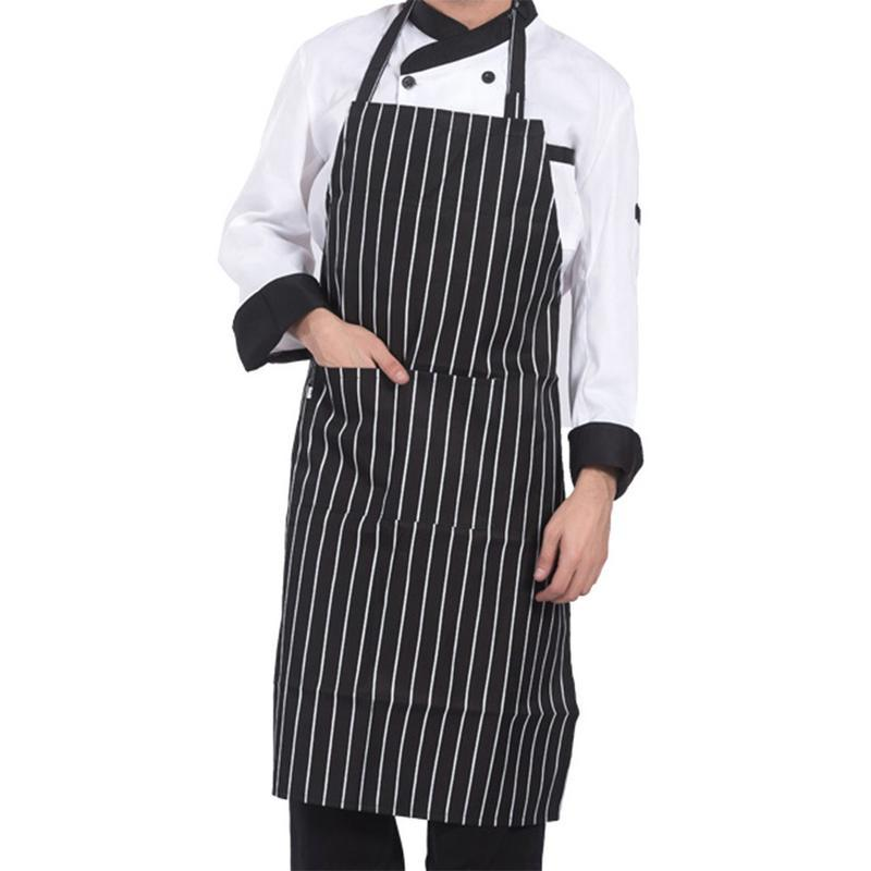 Hot sale Adjustable Half-length Adult Apron Striped Hotel Restaurant Chef Waiter Apron Kitchen Cook With 2 Pockets