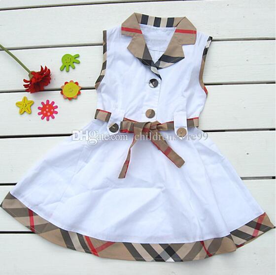 Détail 2019 filles robe été Designer étiquette sans manches coutures à carreaux A-ligne Princesse Robe bébé fille robes vêtements pour enfants