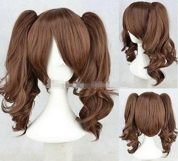 ENVÍO GRATIS ++ + Nuevo Lolita Brown Dos pelucas Cosplay de cola de caballo Cos peluca
