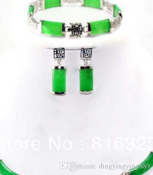 Schmuck heißen Verkauf neu - Schnelles SHIPPINGBeautiful natürliches grünes Jade Silber Halskette Armband Ohrring Schmuck