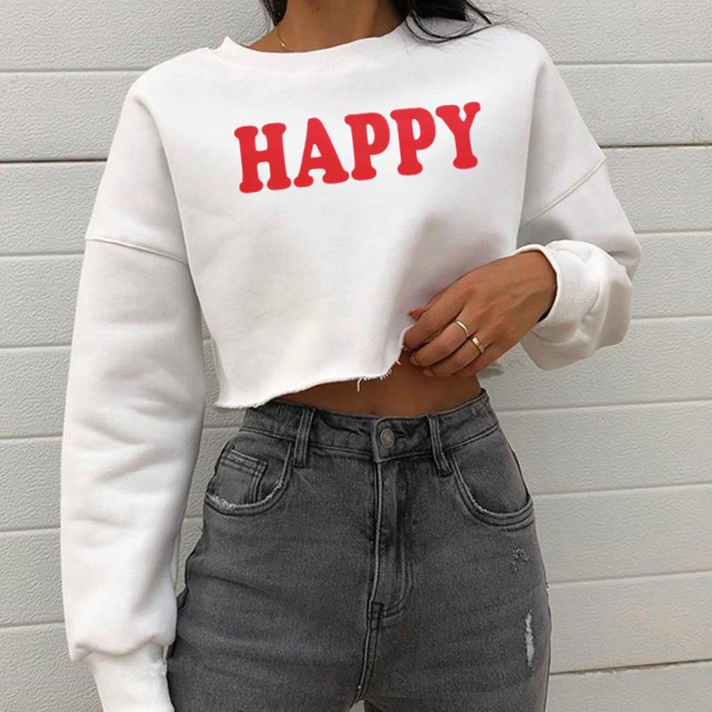 Autumn Winter Women Cropped Hoodies Pullover Tops Casual O Neck Letter Print Kawaii Oversized Hoodie Sweatshirt Women Clothing