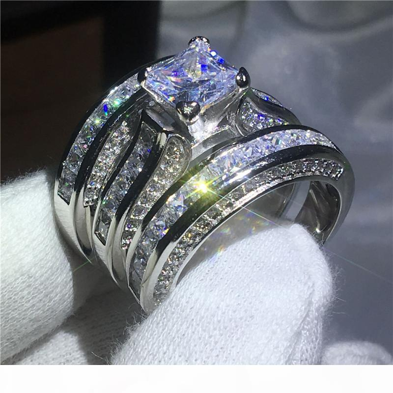 Dropshipping a mano 3-in-1 Anello oro giallo bianco pieno di fidanzamento anelli a fascia di nozze per le donne 5A zircone Bijoux regalo
