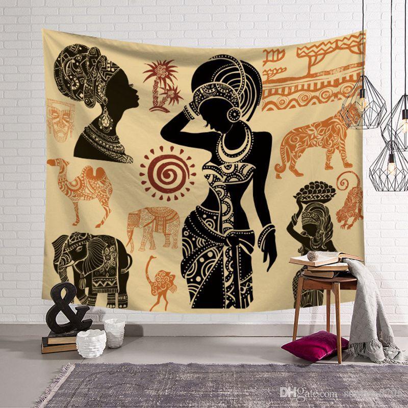Afrikanische wandkunst dekoration marokkanischen tapisserie tierlandschaft hängen tuch dekorative tapiz gedruckt polyester tenture wandbild