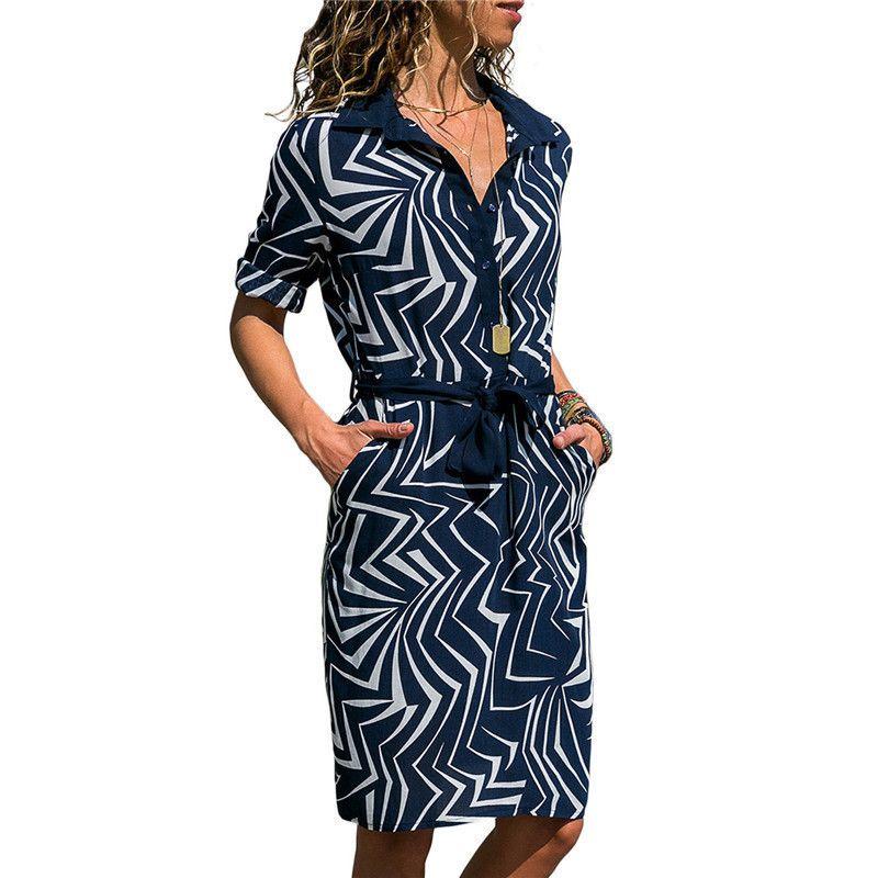 2018 Yaz Elbise Kadın Moda Dantel Kadar Diz Boyu Elbise Düğmeleri Ile Çizgili Kısın Yaka Rahat Elbise Sundress Vestido Y190514