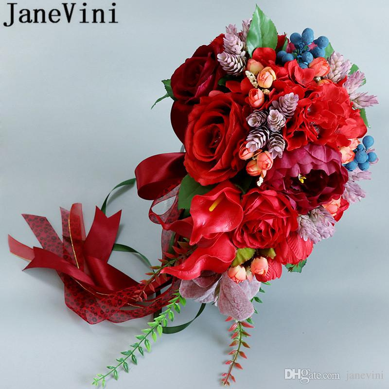 JaneVini Vintage Red Waterfall Wedding Bouquet Bridal Flowers Rose Artificial Calla Lily Groom Brooch Bride Bouquets De Marie