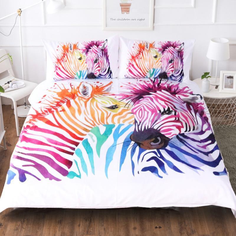 BEST.WENSD Cartoon Unicorns Bedding Set Lovely Couple Twin Full King Single Double Size Children Duvet Cover Pillow Cases zebra