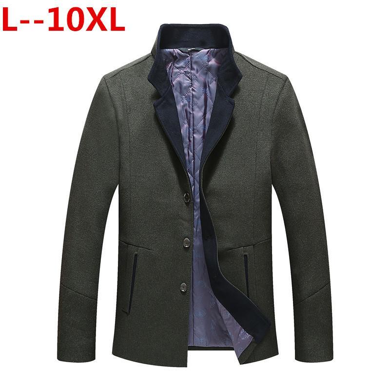10XL 8XL 6X automne et l'hiver nouveau manteau d'affaires décontractée de la mode de laine Slim col / long manteau trench col en coton pour hommes