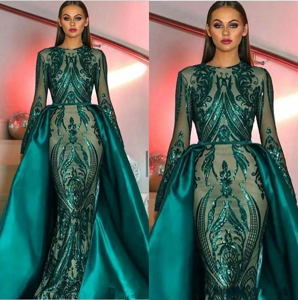 2020 Emerald Green Long Sleeves Mermaid Evening Dress with Detachable Train Abaya Kaftan Dubai Muslim Prom Dress robe de soiree BC2230