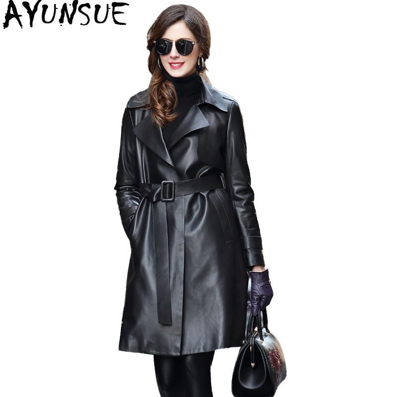 AYUNSUE 2019 Streetwear Women Genuine Leather Jacket Natural Sheepskin Trench Coat Female Long Autumn Women's Windbreaker VG710