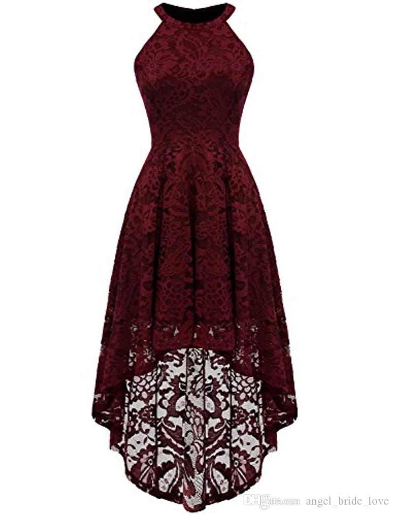 2019 Yeni Moda Seksi Jewel Dantel Parti Abiye ile Hi-Lo Fermuar Artı Boyutu Örgün Akşam Ünlü Elbiseler Be26