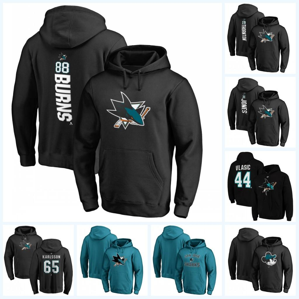 88 Brent Burns San Jose Sharks Jersey con capucha 19 Joe Thornton 35 Couture 65 Karlsson Erik hoodoes hockey en blanco Negro Azul Beige Verde