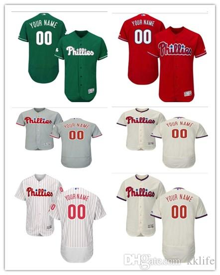 new products 3cdab f58ea 2019 Can Custom Philadelphia Phillies Baseball Wear Women/Men/Youthany Name  Any Number Flex Base Authentic Collection Majestic Baseball Jerseys From ...