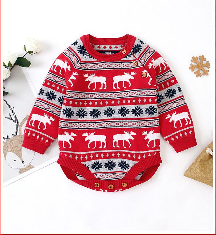 Chirstmas baby Boys romper INS Autumn infant girls xmas reindeer snow knitted jumpsuits Toddler stripe long sleeve Onesie