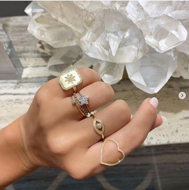 2019 manera de la llegada del anillo de oro del hip hop joyería de la vendimia del anillo de latón northstar anillos grabado para los hombres ajustan los anillos de boda