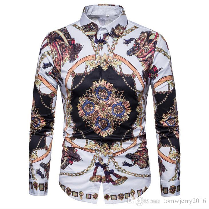 Весна и осень персонализированная 3D печать внешняя торговля новая мода мужская европейская и американская стиль цифровая печать рубашка с длинным рукавом
