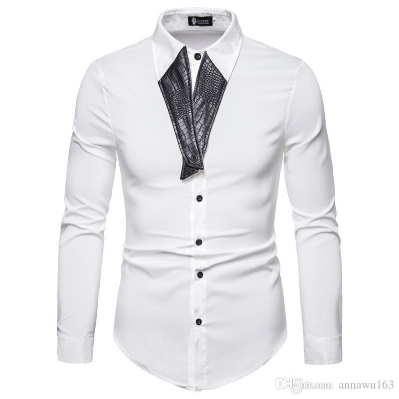 Yeni gençlik erkekler gömlek moda kişilik yaka uzun kollu gömleği 4 renk ücretsiz kargo toptan dikiş PU deri gömlek erkekler uyarlanmış