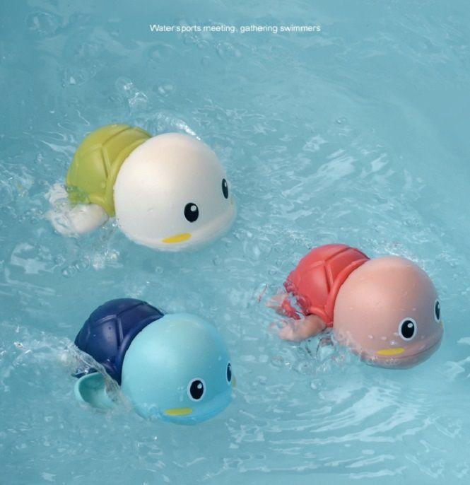 Tortuga Swim infantil animal linda de la tortuga de agua de juguete de bebé clásico de la herida en marcha del mecanismo de cadena para niños baño de la playa Juguetes 3pcs / lot