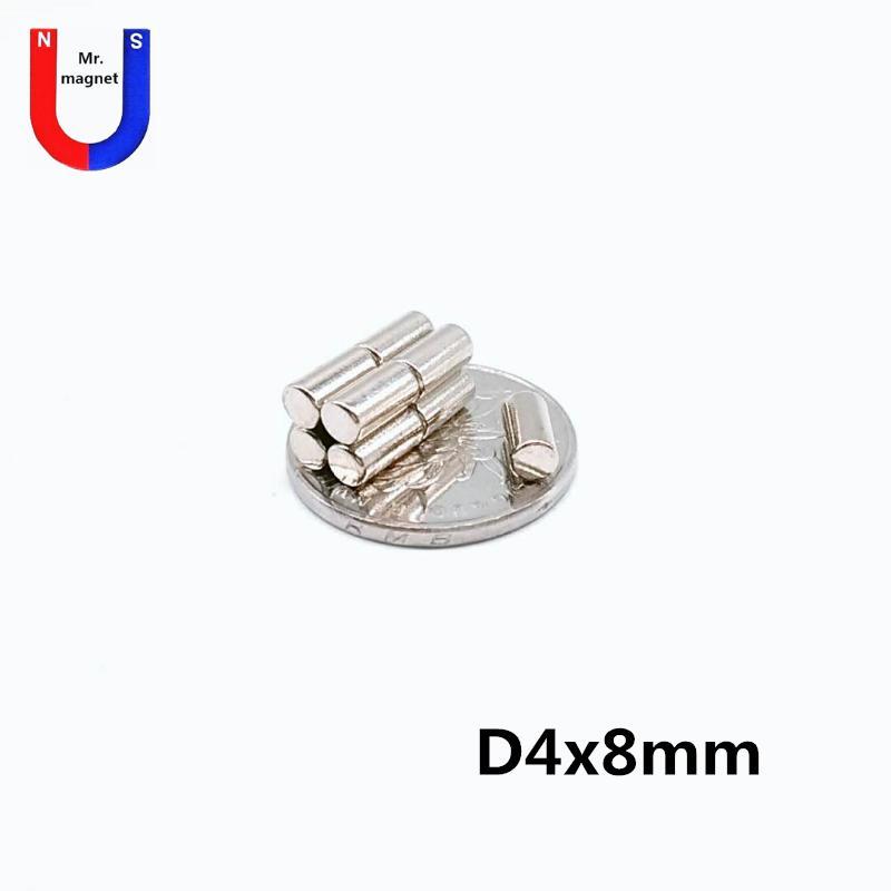 200PCS 핫 세일 작은 디스크 4 × 4 * 8mm 영구 자석 D4x8mm 희토류 자석 4mm X 8mm 4 * 8 네오디뮴 자석의 NdFeB 4x8mm 무료 배송