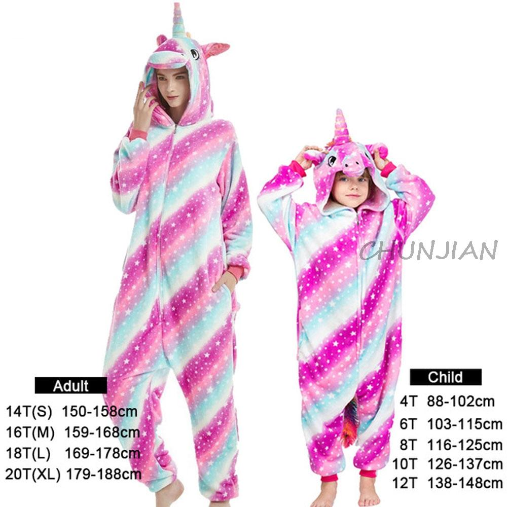 Kigurumi Teenager Panda Animal Pajamas Kids Christmas Pajamas Women Unicorn Pijamas Family Clothing for Homewear Night suits