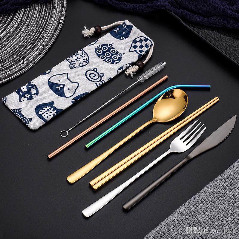 Stainless Steel Colorful Cutlery Set Rainbow Plated Dinnerware Creative Dinner Set Reusable Fork Knife Chopsticks Pouch