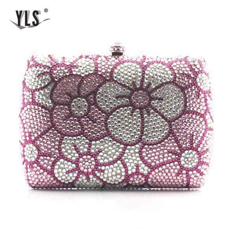 YLS Women Elegant Floral Print Evening Crystal Diamond Clutch Bolso Mujer Silver Gold Bride Wedding Party Bag Purse Handbag