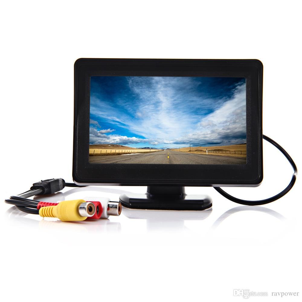 2 en 1 4,3 pouces TFT LCD arrière de voiture moniteur de vision nocturne parking caméra inversée