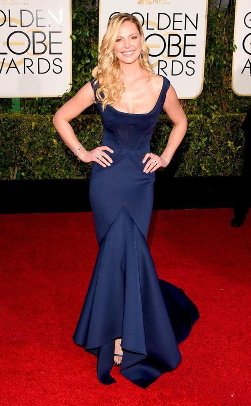2019 nouvelle 72e Golden Globe Awards robe de soirée décolleté carré sirène Katherine Heigl tapis rouge robe robes de célébrité robes de soirée
