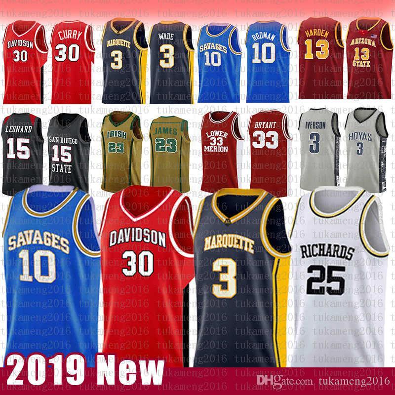 30 Стивен Карри NCAA Davidson Wildcats колледжа Баскетбол Джерси 3 Дуэйн 10 Dennis 25 Уэйд Родман RICHARDS Маркетт беркутов трикотажных изделий