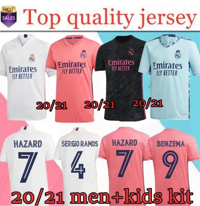 REAL MADRID nueva jerseys camisas 20 camiseta de fútbol 21 PELIGRO DE SERGIO RAMOS BENZEMA VINICIUS camiseta de fútbol uniformes de los hombres + los niños juegos de piezas de 19/20