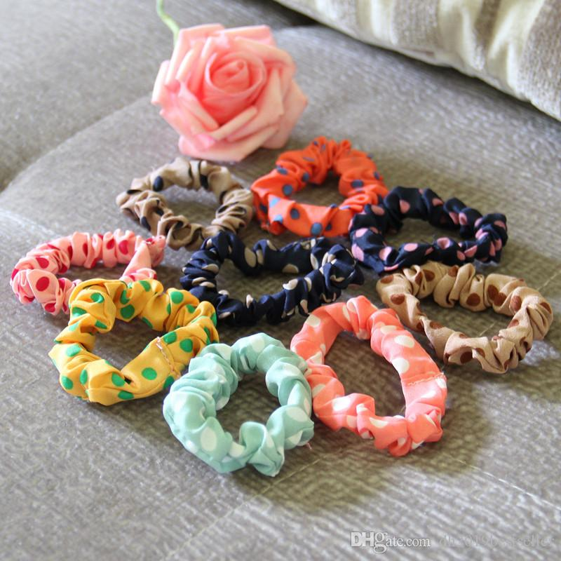 Daily hair bands Women Elastic Polka Dot Print Fabric Hair Band Rope Scrunchie Ponytail Holder Random Color 10pcs