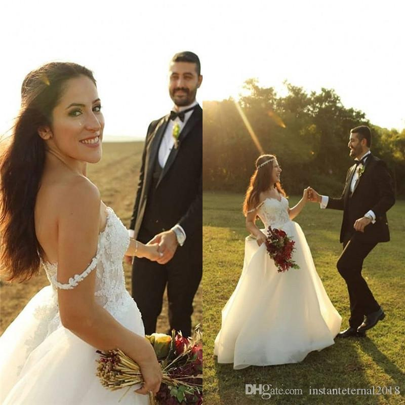 2020 vestidos de casamento Alças Tulle com apliques Praia Boho Jardim vestidos de noiva País robe de