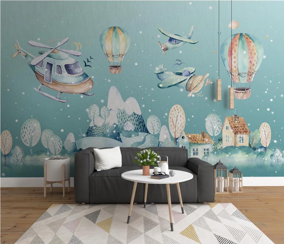 Bacal personalizado papel de parede murais 3d nova sala Nordic desenhado à mão de banda desenhada aldeia helicóptero balão de ar quente crianças 3d papel de parede