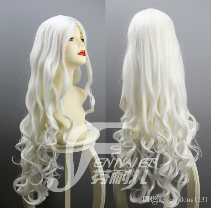 Personnalité créative couleur blanche 80 cm de long bouclés Cosplay perruques cheveux nouveau naturel