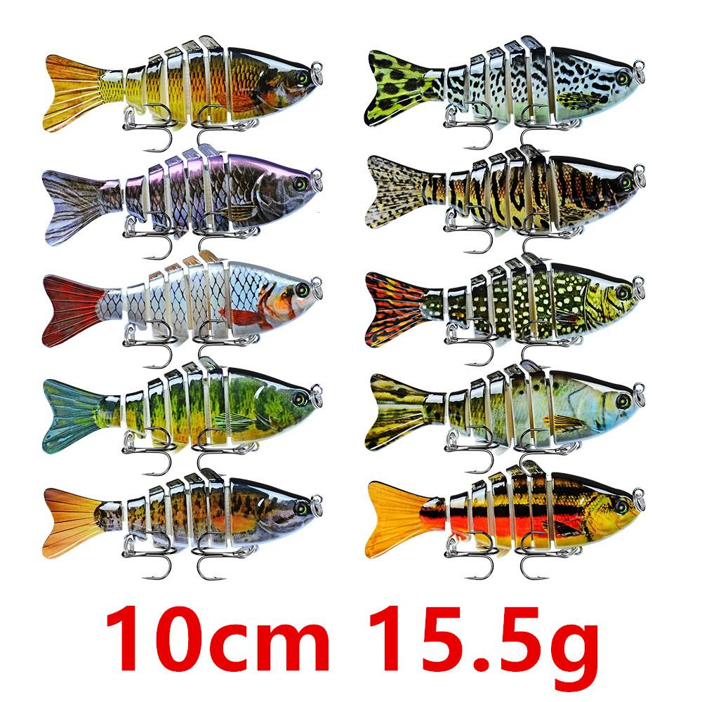 7 Sections Fishing Lure 10cm/15.5g Swimbait Fishing Bait 6# Hook Pesca Fishing Tackle FS_37