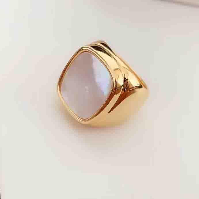 18K gli anelli placcati oro design quadrato con guscio bianco e occhio di tigre pietra per le donne l'anello di barretta misura tutto per le ragazze e le donne gioielli gif