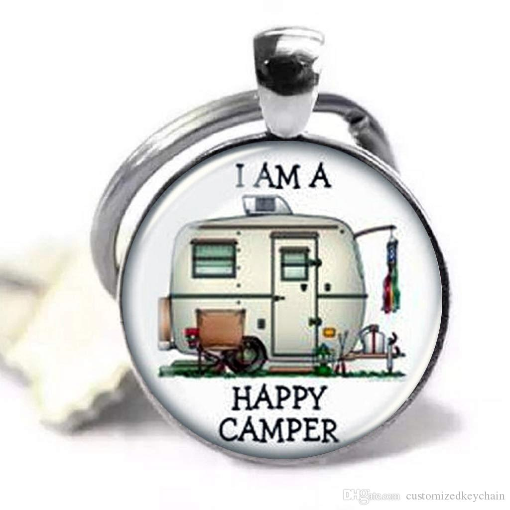Happy Camper Lover Image Pendant Handmade Keychain, Customized Key chain Quote Jewelry Pendant Glass Dome Key chain