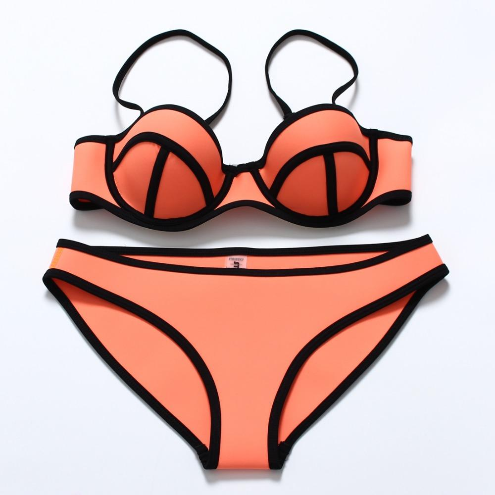2020 sexy Women Bikini Push Up solid color Bikini Set Neon solid color Swimwear Underwire Swimsuit Biquini Maillot De Bain