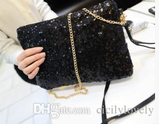Mujeres Mujeres Bolso de noche Bolso de lentejuelas Sobre Embrague Bolso negro Fiesta Banquete Glitter Bag Embragues Monederos de oro Bolsas Mujer