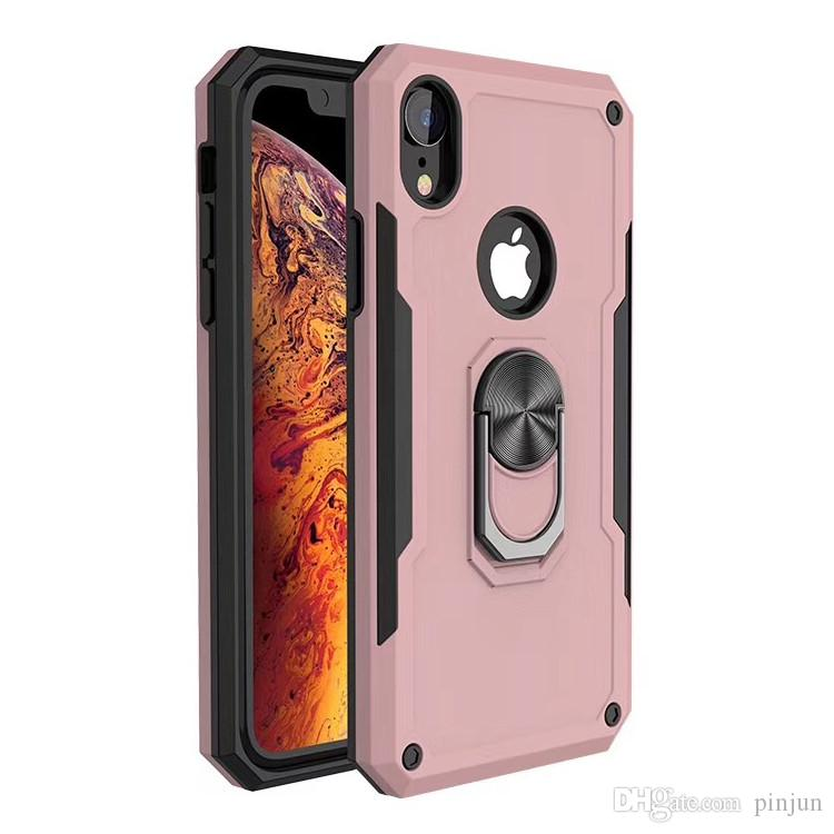 Best selling 2 in 1 hybrid rugged armor military grade shockproof ring kickstand cell phone back cover case For Huawei P SMART 2019
