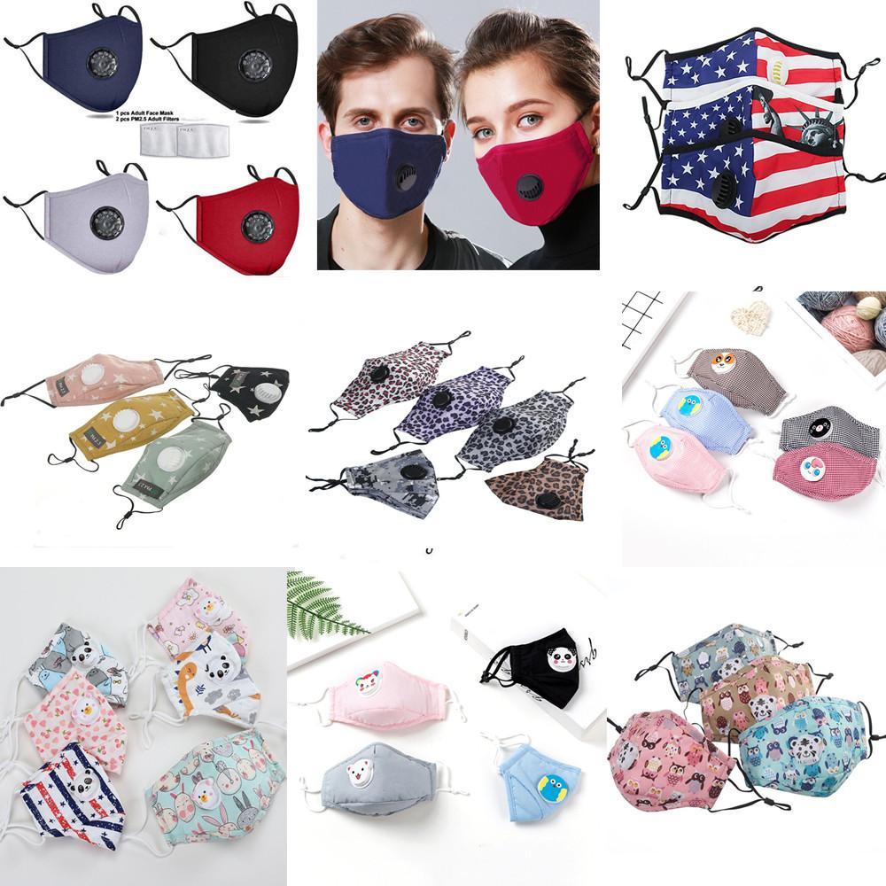DHL Fashion Masques unisexe coton visage avec Souffle PM2,5 Valve bouche Masque anti-poussière enfants en tissu réutilisable Designer Face Mask