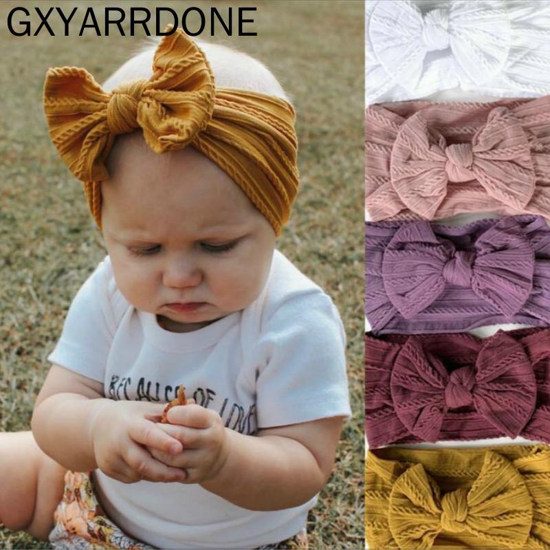 1pcs 24 Couleur Choisissez Bébé Bandeau Filles Twisted noueuse Nylon Edges bowknot Band Cheveux Accessoires bébé Bows headwraps