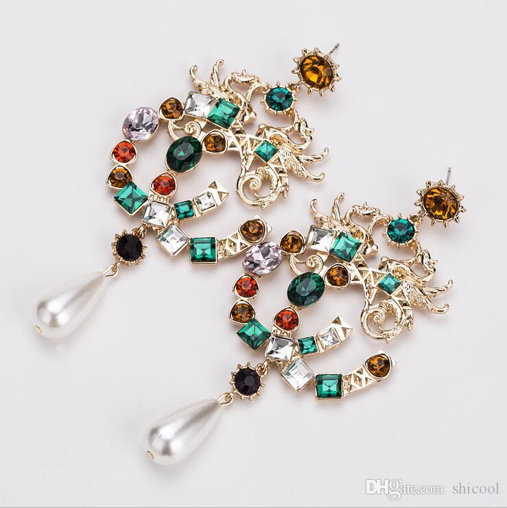 Women Drop Earrings - Colorful Artificial Gemstone Alloy Luxury Jewelry Women Dangle Earrings - Gem Statement Earrings