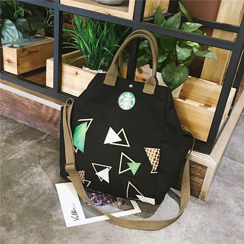2019 Fashion Simple Art Handbags Canvas Bag Starbucks Handbags Casual Shoulder Slung Female Student Cloth Bags