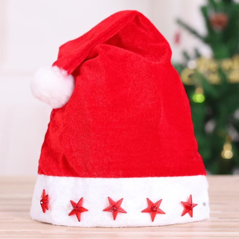 LED-Weihnachts-HutBeanie Xmas Party Hat Glühende leuchtende LED rot blinkende Stern von Santa Für Erwachsene LX8755