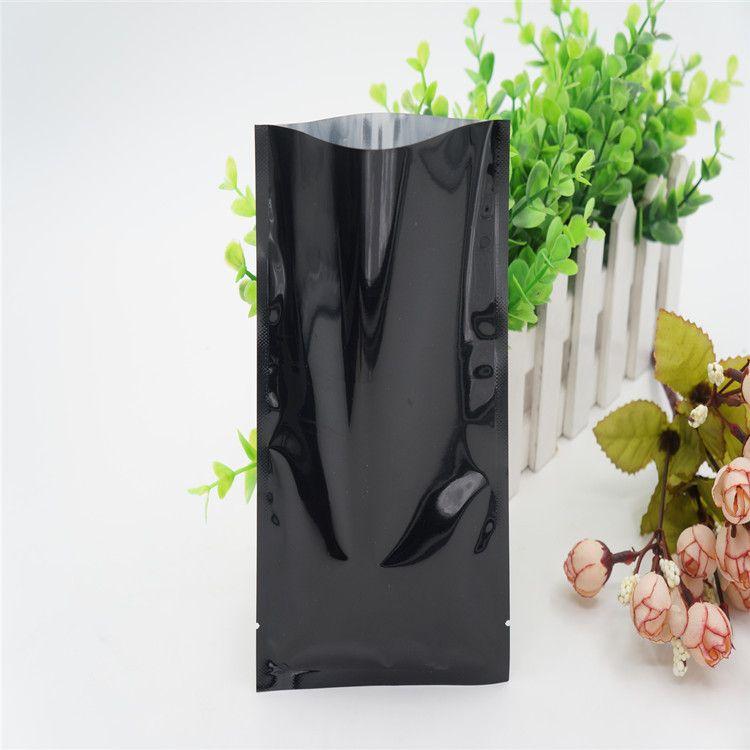 200pcs lot 6*9cm black heat seal open top vacuum bag small mini tea packaging storage bag gift packing bag mylar flat pouch