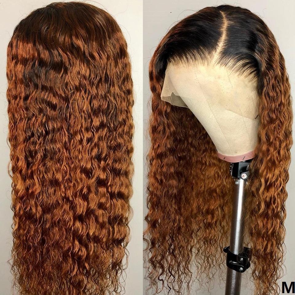 1B / 30 brasileña rizada peluca de Remy del pelo del cordón 150 Densidad Ombre pelucas de pelo delantero del cordón del color del pelo del bebé humano con la 13 * 4 Pre desplumados