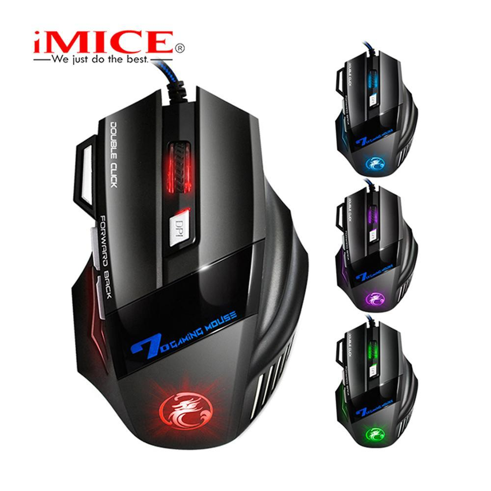iMice X7 Professional Wired Gaming Mouse 7 Botão 5500 DPI LED óptico USB X7 Computer Mouse Gamer Mice