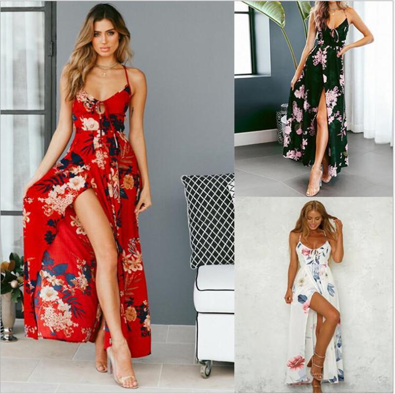 Sommer-Frauen-beiläufige Kleider mit Blumenmuster-Spaghetti-Bügel aushöhlen Unregelmäßige Frauen Kleider Sexy Frauen Kleidung