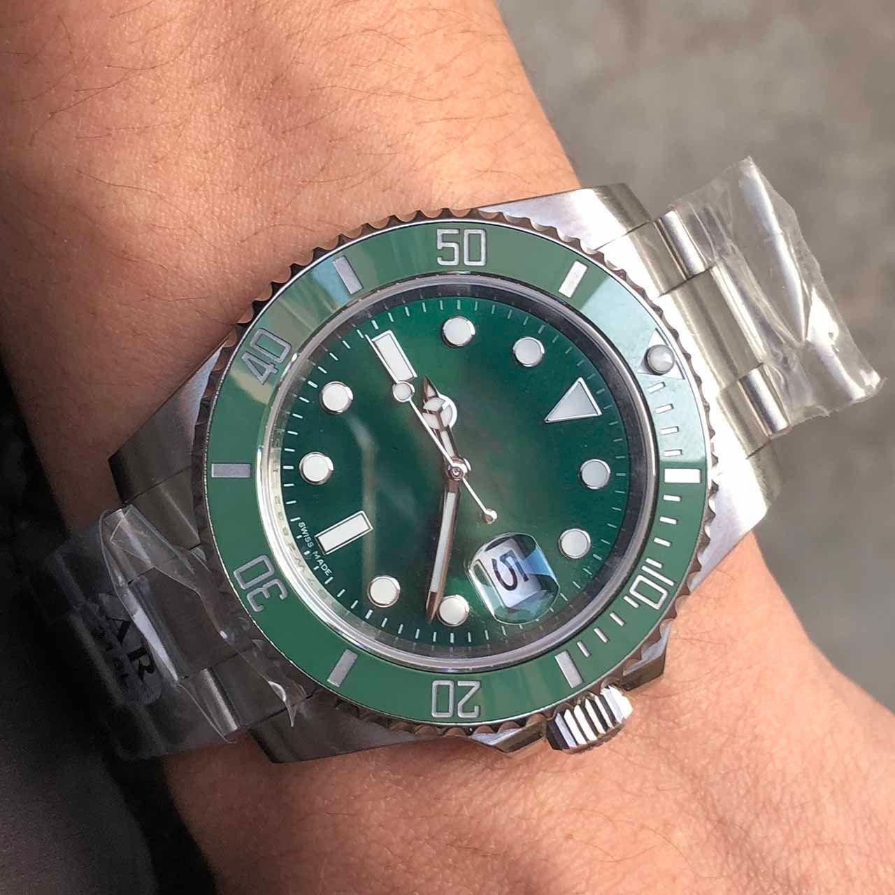 AR Fabrik Beste Qualität Uhren 2813 Automatische grüne Zifferblatt Keramik Lünette Herrenuhr 316l Edelstahl Besteuhren