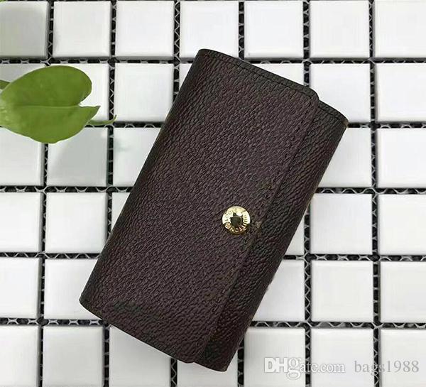 Caixa de boa qualidade por atacado de couro multicolor carteira curta seis chave titular das mulheres dos homens clássico com zíper bolso chaveiro frete grátis 62630